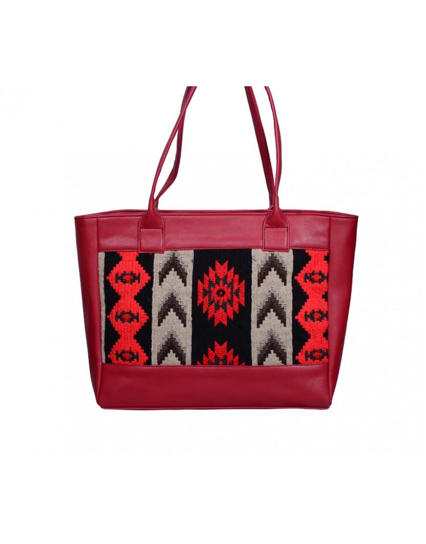 Jacquard PU tote bag - red