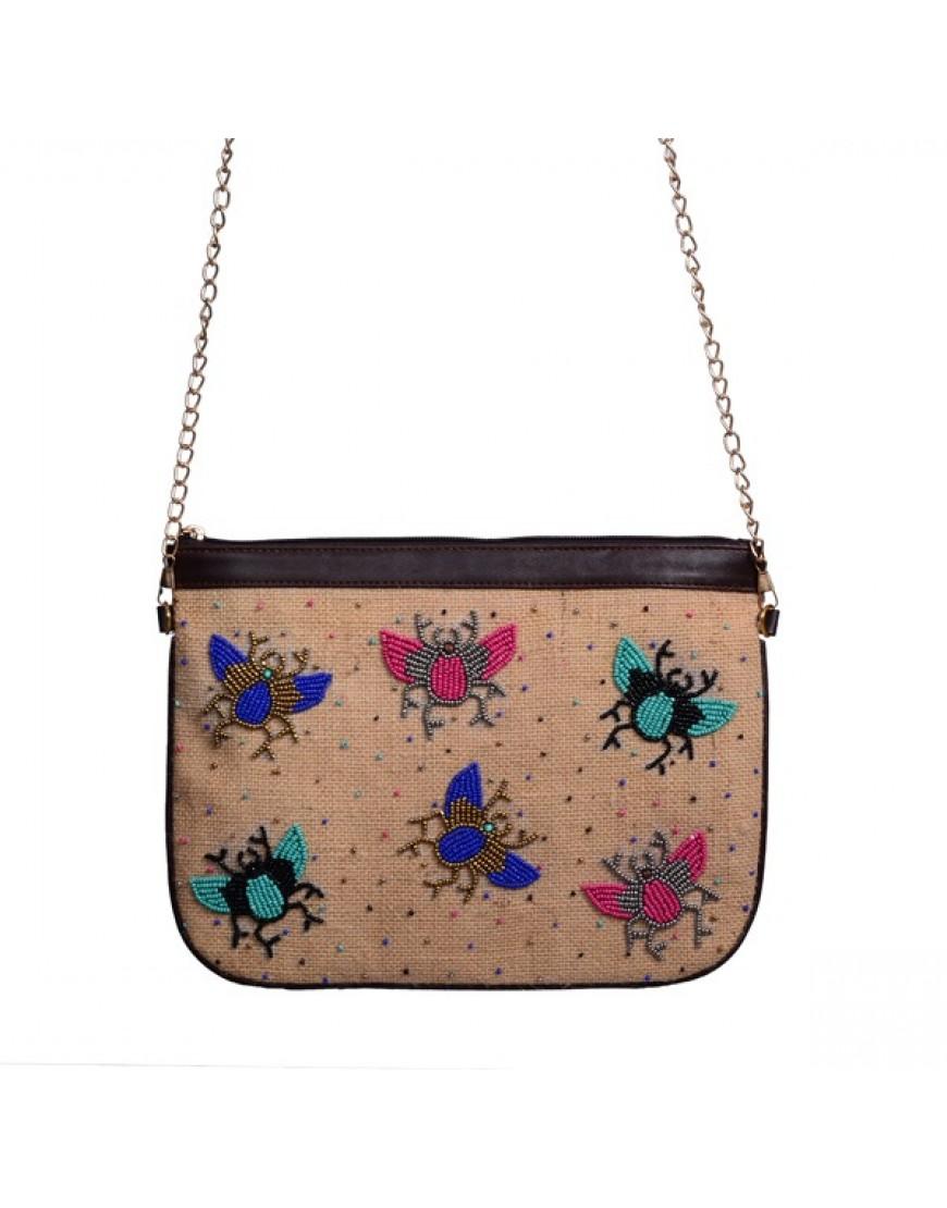 Beige - Jute Bug Sling Bag