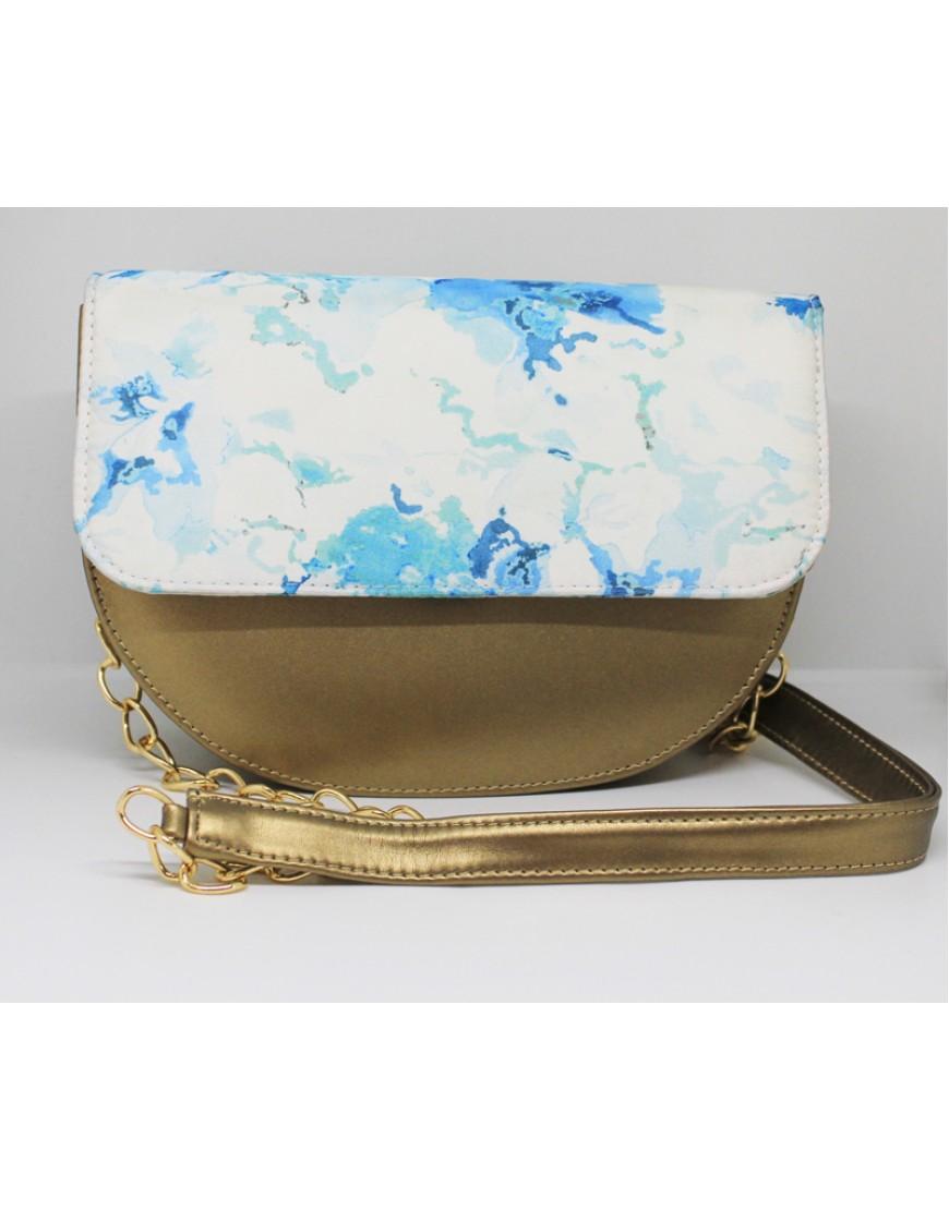 Blue Gold Splatter Sling Bag
