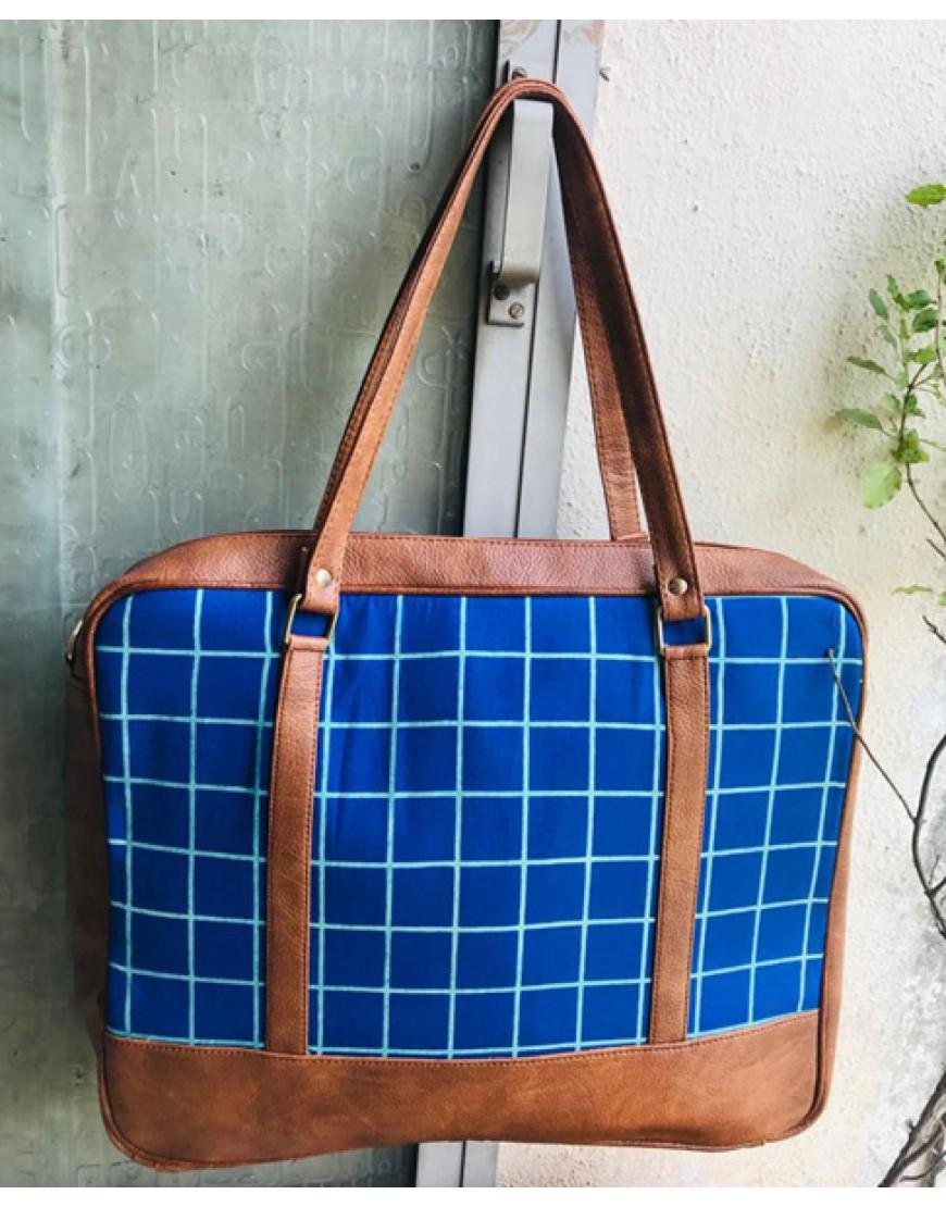 Laptop Bag (Blue Checks)