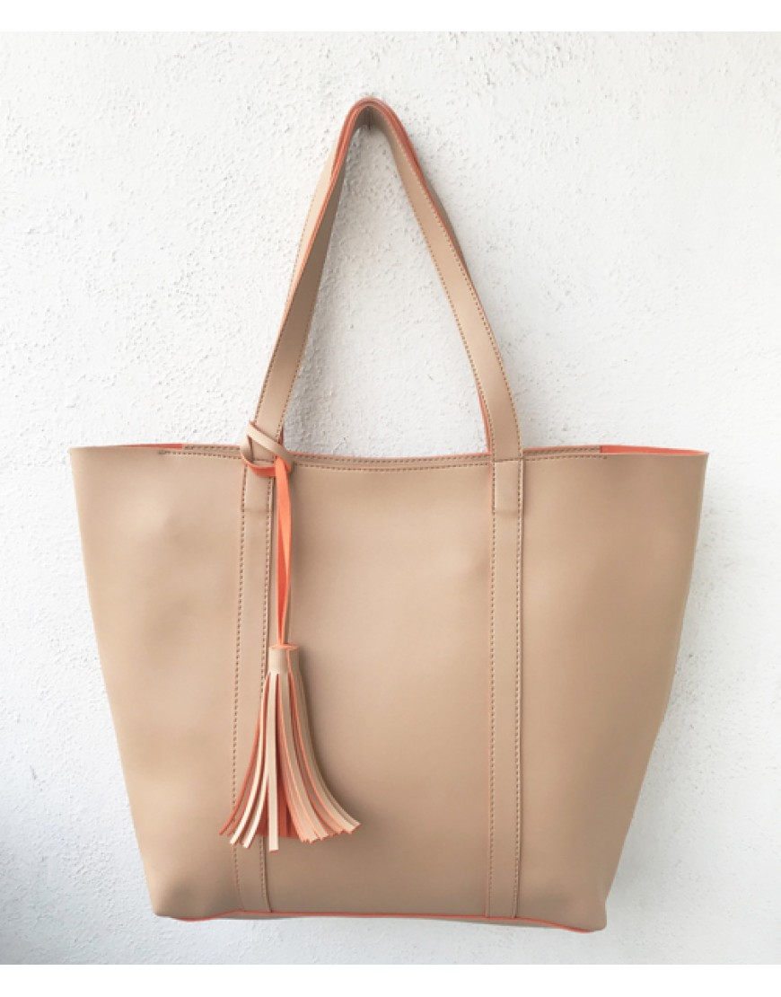 Beige Two Tone Tote bag
