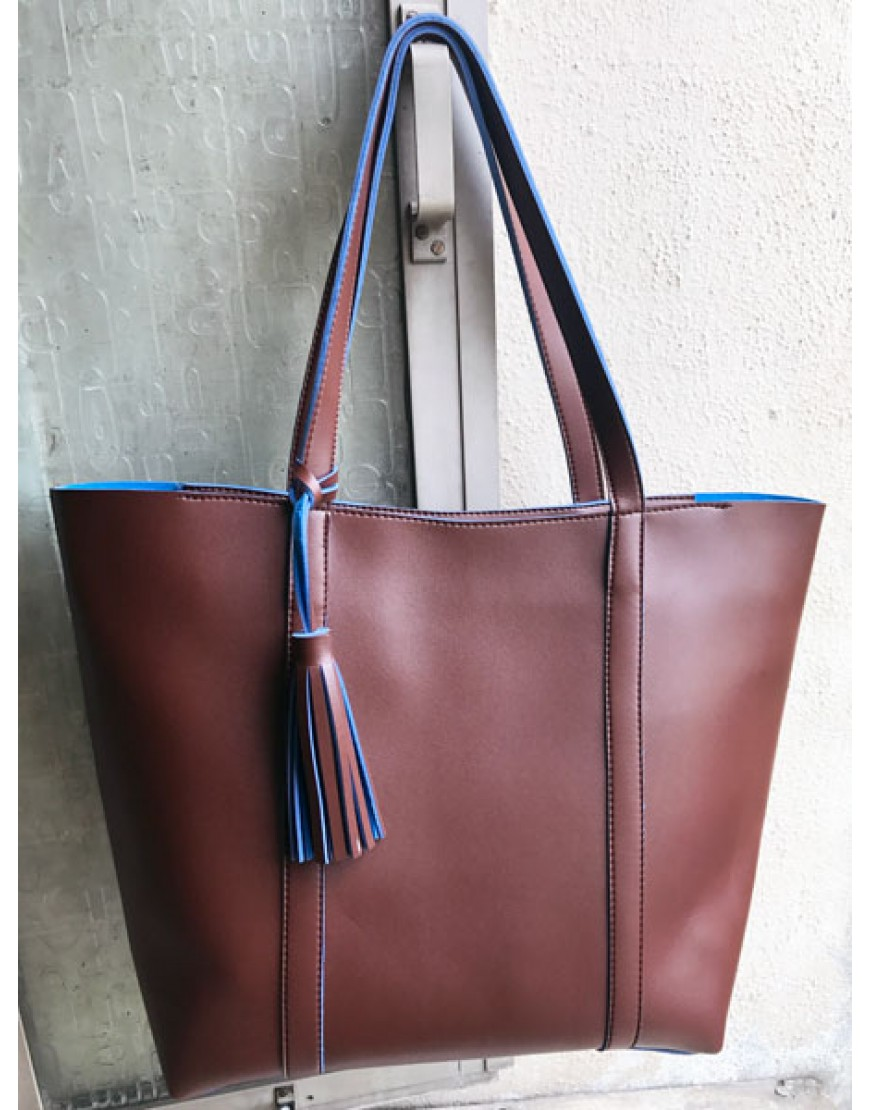 Brown Two Tone Tote bag